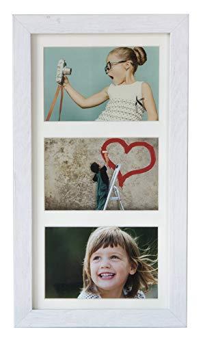 BD ART 18 x 35 cm Mehrfach Bilderrahmen, Bildergalerie, Fotogalerie mit Passepartout und 3 Foto-Ausschnitten für Fotos 10 x 15 cm, Weiß rustikal