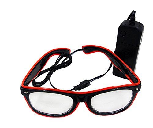 UTOVME EL Leuchtbrille Party Club LED Leuchten Brillen Partybrille Eyeglasses Nicht blendet mit Batterie Box - Mit Halloween-kostüme Box