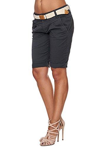 Fresh Made Femme Cuba Chino Shorts Bermuda Pantalon Avec Ceintur D6053Z60080 Pastel XS S M L XL Dark Grey