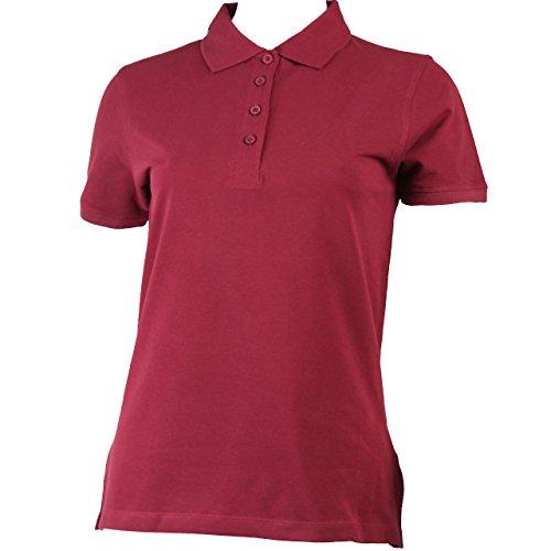 Polo à manches courtes pour femme avec rangée de boutons en 9 couleurs Rouge - Bordeaux