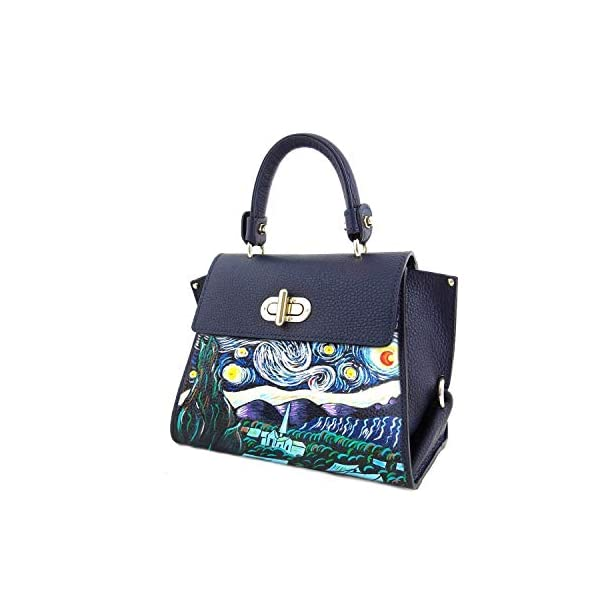 Hand-painted genuine leather shoulder bag – THE STARRY NIGHT BY VINCENT VAN GOGH - Women Bag, Hand Bag, Genuine Leather, Made in Italy, Painted Leather, Handbag and Shoulder Bag, Craftsmanship - handmade-bags