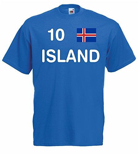 World-of-Shirt Herren T-Shirt Island EM 2016 Trikot Fanshirt Nr.10|blau-XXXL
