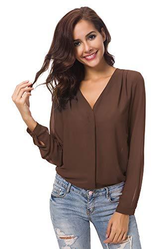 Urbancoco Damen V-Ausschnitt gekräuselten Schulter Langarm Lose Chiffon Blusen (L, Kaffee) - Sleeve Loose Fit Shirt