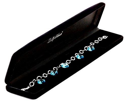 LillyMarie Damen Armband Sterlingsilber 925 original Swarovski Edelsteine Kristall Herzen hellblau längen-verstellbar Geschenkverpackung, Geschenk Freundin - 2