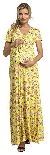 HAPPY MAMA. Para Mujer Vestido Largo premamá y de Lactancia Manga Cor
