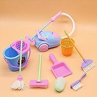 BlackEdragon Miniature Mop Dustpan Bucket Brush Housework Cleaning Tools Set Dollhouse Garden Accessories for Barbie Dolls