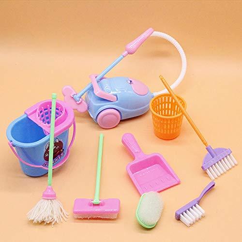 BlackEdragon Miniatur Mopp Kehrschaufel Eimer Pinsel Hausarbeit Reinigungswerkzeuge Set Puppenhaus Garten Zubehör für Barbie-Puppen