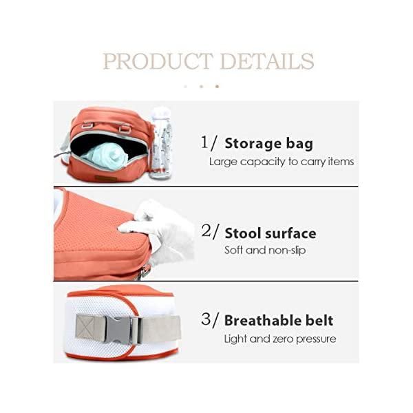 SONARIN 3 in 1 Multifunction Hipseat Baby Carrier,Ergonomic,Mummy Bag,100% Cotton,Breathable mesh Backing,Adapted to Your Child's Growing,Cozy & Soothing for Babies,Ideal Gift(Orange) SONARIN Applicable age and Weight:0-36 months of baby, the maximum load: 36KG, and adjustable the waist size can be up to 45.3 inches (about 115cm). Material:designers carefully selected soft and delicate 100% cotton fabric. Resistant to wash, do not fade, External use of 3D breathable mesh,15mm soft cushion,to the baby comfortable and safe experience. 30mm sponge filled, effectively relieve mother's abdominal pressure. Description:patented design of the auxiliary spine micro-C structure and leg opening design, natural M-type sitting. Removable backplane, hold the baby back, perfect support horizontal hold.The baby carrier and the hipseat junction have a protective pad,intimate design, so that your baby more comfortable. 5
