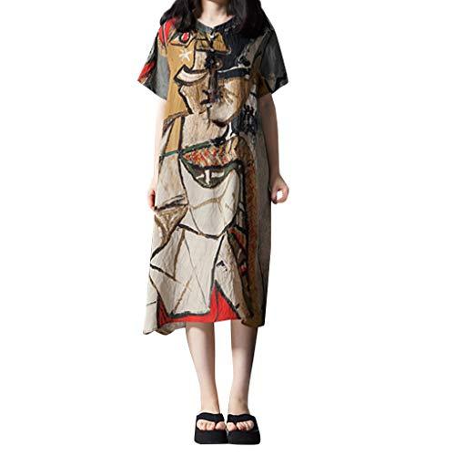VECOLE Damenoberteile Sommer Mode Damen Baumwolle Leinenkleid Druck O-Ausschnitt Langarm Kurzarm locker mittlerer Länge Rock Kleid(Gelb,M) - Velvet Tulip Rock