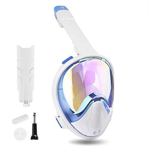 VILISUN Tauchmaske, Faltbare Vollmaske Schnorchelmaske Vollgesichtsmaske mit 180° Sichtfeld und Kamerahaltung, müheloses Atmen UV-Schutz, Dichtung aus Silikon Anti-Fog und Anti-Leck, für Erwachsene