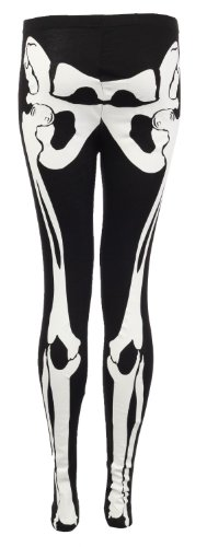 Fast Fashion Damen Leggings Skelett Knochendruck Viskose-Jersey (EUR (36-38), (Leggings Halloween)