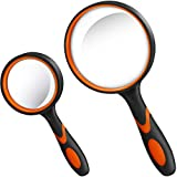 2 Pieces Magnifying Glass Handheld Reading Magnifier 100 mm 3X Large Magnifying Lens
