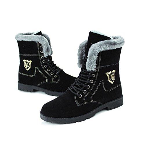 Men's Suede High Top Plush Warm Shoes Black