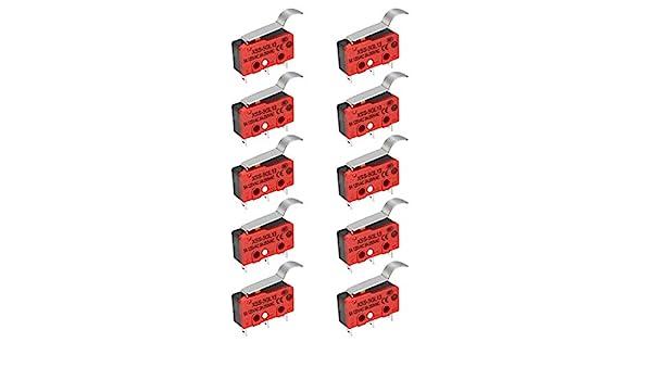 COMEYOU 10pcs SPDT NO 250VAC NC Simul/é R Type /à Levier Interrupteurs daction Micro-Interrupteur de Fin de Course 5A 125VAC 3A