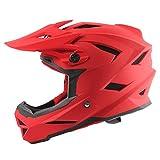 NJ Helm- Kinderhelm für Single Wheel Slip Helm, Offroad Motorrad, Street Bike, Fullface Helm (Farbe : Red, größe : 30x21x26cm)
