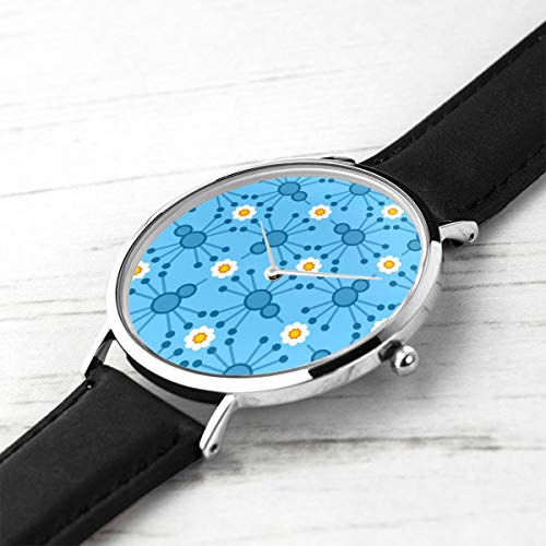 Unisex Ultra Thin Fashion Minimalist Wrist Watches Pin Bird Bloom Blue Waterproof Quartz Casual Watch Mens Womens Womens (Pin Blue Bird)