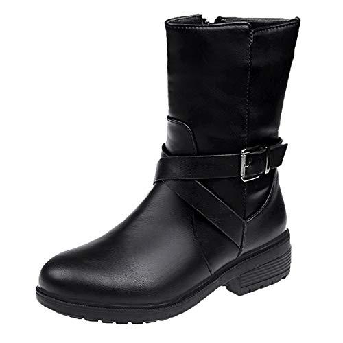 MYMYG Damen Leder Stiefel Freizeitschuhe Chelsea Boots Kurzschaft Frauen-Platz Ferse Schnalle Stiefel Schuhe Round Toe Boot Winterstiefel Herbst Winter Freizeitschuhe