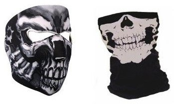 "Set Neopren-Sturmhaube/-maske ""Assassin's Skull"" und Maske mit Halstuch ""Ghost Totenkopf"" - Stil Call of Duty COD Modern Warfare - Black Ops - Airsoft - Paintball - Outdoor - Ski - Schnee - Surfen - Motorrad - Fahrrad - Quad"