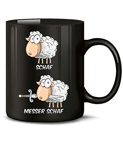 r Schaf 5952 Wortspiel Zweideutig Fun Tasse Spruch Lustig Weihnachten Frau Geschenk Geburtstag Büro Arbeit Becher Kaffeetasse Schwarz ()