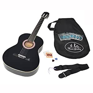 TS-Ideen 4414 Guitare acoustique 4/4 avec Housse + Cordes + Médiators + Accordeur + Sangle Noir