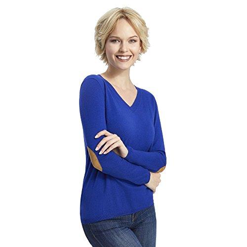ALLBOW Blauer Pullover Patches Damen in Beige, Kaschmir/Baumwolle