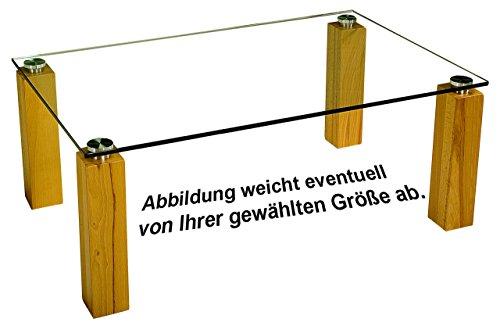 Dresden30173 Designer-Couchtisch mit einer 12mm starken Glasplatte. Stollen in 90x90mm Massivholz und hochwertiger Metallverbindung Klarglas Kernbuche Größe: 70 x 70 cm Quadratisch Kernbuche