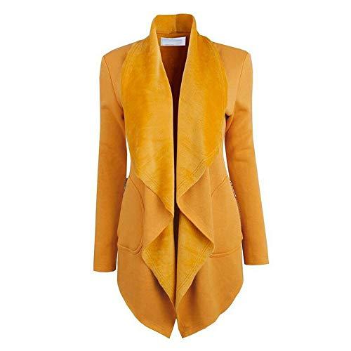 Heligen Abstand Frauen Slim Langarm Umlegekragen Mantel Jacke Outwear Strickjacke Mantel Fleece Pullover Taschen