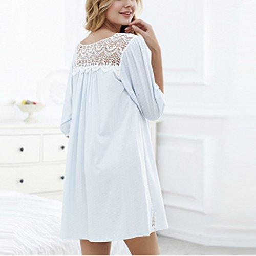 Zhuhaitf Gute Qualität Adult Womens Fashion Lace Round neck Loose Cotton Casual Sleep Skirt Pajamas Pale Blue