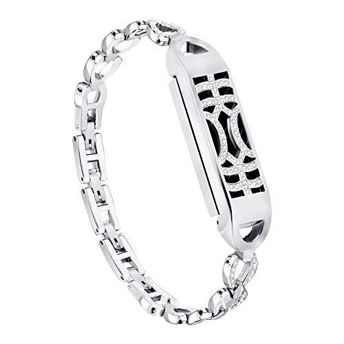 Cooljun Compatible avec Fitbit Flex 2,Bracelet Design réglable avec Interrupteur en métal avec étui (Argent)