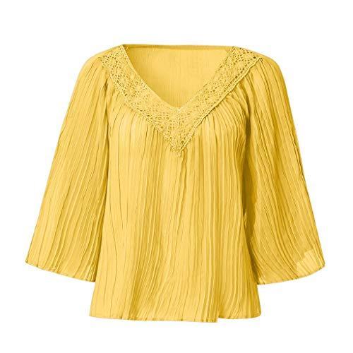 Zegeey Damen T-Shirt V-Ausschnitt Kurzarm Batwing BöHmen Einfarbig Sommer LäSsige Lose Oberteil Bluse Shirt Pullover Tops (Gelb,EU-36/CN-M)