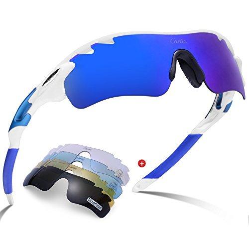 Carfia Sport Sonnenbrille UV400 Schutz Polarisierte Sonnenbrille Sportbrille für Herren Damen, 5 Wechselbare Linsen (E)