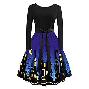 Inawayls 1950er Vintage Retro Cocktailkleid Rockabilly Faltenrock Damen Schwingen Petticoat Faltenrock Frauen Halloween…