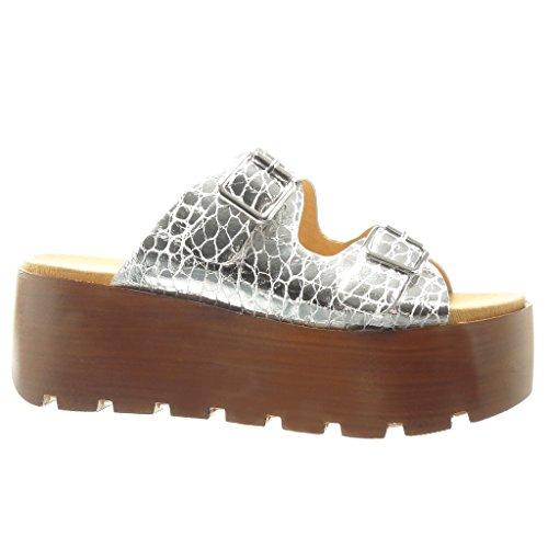 Angkorly - Scarpe da Moda zoccoli sandali zeppe donna tanga