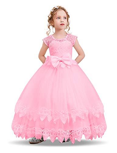 NNJXD Madchen Armellos Stickerei Prinzessin Festzug Kleider Abschlussball Ballkleid, #2 Rosa, 13-14 Jahre / Herstellergröße: 170 (Ballkleid Belle Prinzessin)