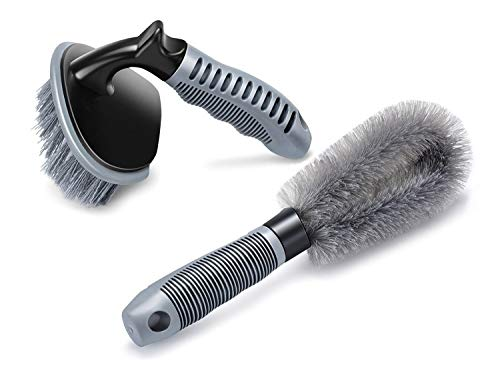 JMD GLOBAL SALES - 2 Pcs Steel and Alloy Wheel Cleaning Brush, Rim Cleaner for Your Car, Motorcycle or Bicycle Tire Brush Washing Tool
