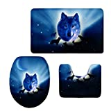 Rollsnownow Simple mode 3D stéréoscopique Moonlight Wolf motif imprimé fleurs salle de bain toilette trois pièces ensemble Salle de bain tapis antidérapant (tapis de bain + piédestal mat + tapis de couverture de siège de toilette)