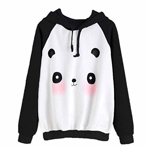 Panda Schnee Kostüm (AMUSTER Frauen Heavy Blend Hoodie Pullover Herbst Lange Ärmel Pullover Karikatur Panda Druck Kapuzenpullover (L,)