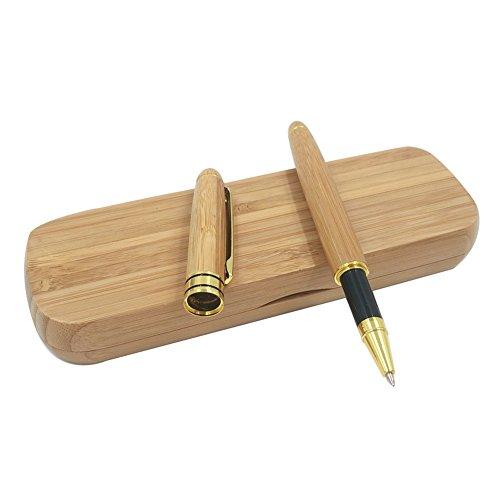 Rey - penna stilografica in legno di bambù naturale, realizzata a mano, stile vintage, con custodia abbinata in legno di bambù
