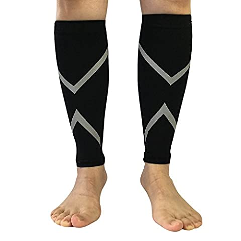 Aeroty 1pair Women Men Footless Compression Leg Sleeves Support Calf Socks for Running Cycling