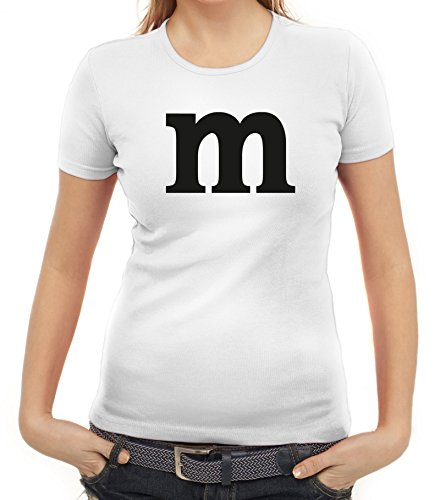 ShirtStreet Karneval Fasching Junggesellenabschied Damen T-Shirt Gruppen & Paar Kostüm mit M Aufdruck, Größe: S,Weiß (Weiß Halloween-kostüm T-shirt)
