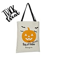 """Personalized Halloween Tote Bag Durable Trick or Treat Candy Sack Bags, Canvas, 13x17"""""""
