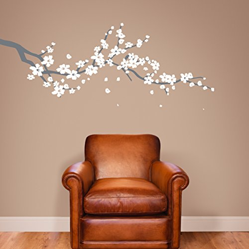 The Decal Guru Graz Design - Adhesivo Decorativo para Pared, diseño de Ramas de árbol de Cerezo japonés, tamaño Grande, Grey & White, Large