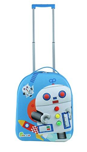 Bayer Chic 2000 Bouncie Kinder-Trolley mit 3D-Roboter-Motiv, Reisetrolleygroß Kindergepäck, 40 cm, 26 L, Blau - 2