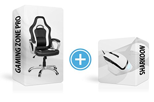 Set de gamer Sharkoon, souris d'ordinateur + chaise, Gaming Zone, souris de gaming professionnelle à 6 boutons, ergonomique, avec surface en caoutchouc; fauteuil de bureau avec système de bascule