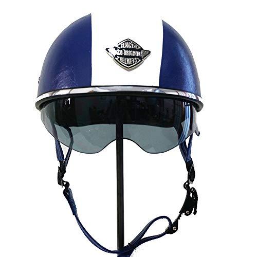 ZWL Helm, Handgefertigter Retro-Lederhelm, Halber Helm, Vier Jahreszeiten, Unisex, Geeignet für Motorrad, Elektrofahrrad, Kinderauto,Blue