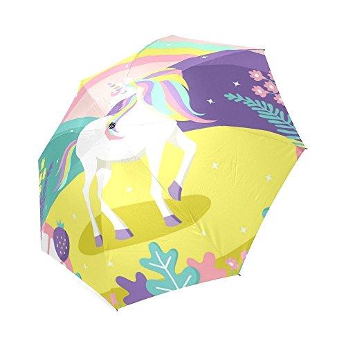 Colorful Magic World Hintergrund mit Einhorn Design Faltbarer Regenschirm Sonne Regen Travel Regenschirm Anti UV-Wind beständig