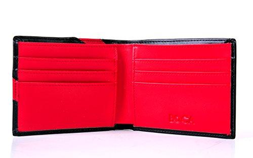 Boca RFID-Blocker Schutz Kreditkartenetui für Herren aus echtem Leder, Brieftasche Ausweis Geldbörse Visitenkartenetui Portemonnaie Geldbeutel in Schwarz Schwarz-Rote