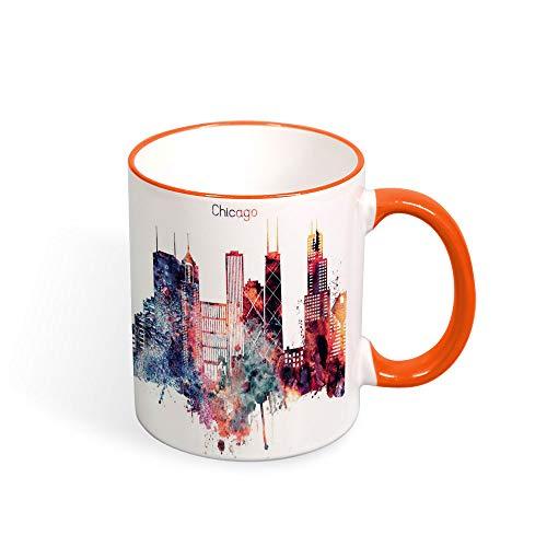 Chicago City Kaffeetasse, Wasserfarbe, Illinois Cityscape-Tasse, Keramik, Souvenir, Reisegeschenk, modernes Zitat, 325 ml Orange