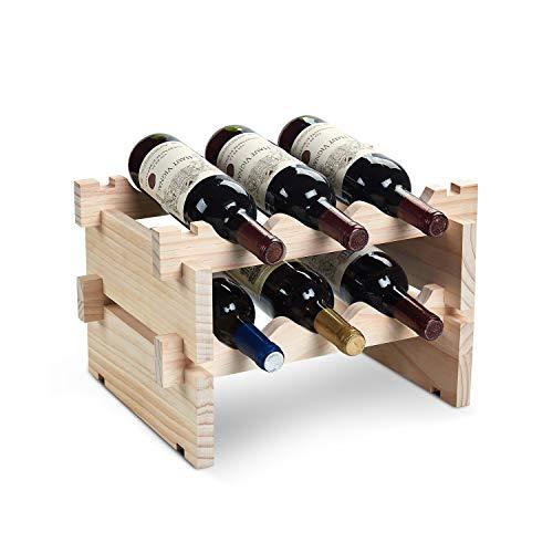 DEFWAY Weinregal aus Holz - stapelbar Aufbewahrung Weinhalter für 6 Flaschen freistehend Natur Holz Regal für Bar Küche Holz - Moderne Bögen Sammlung