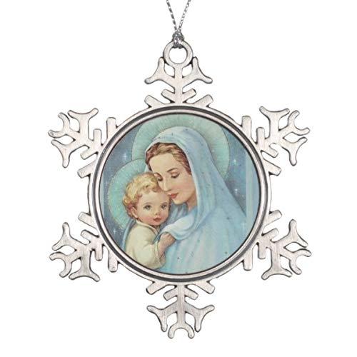 Vehfa Decorations Personalisiertes Ornament für Jungfrau Maria Mutter Baby Jesus Schneeflocke Zinn